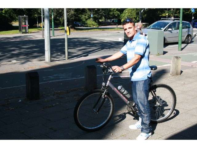 With a bike donated by a supporter